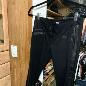Paige Black Pants with leather trim